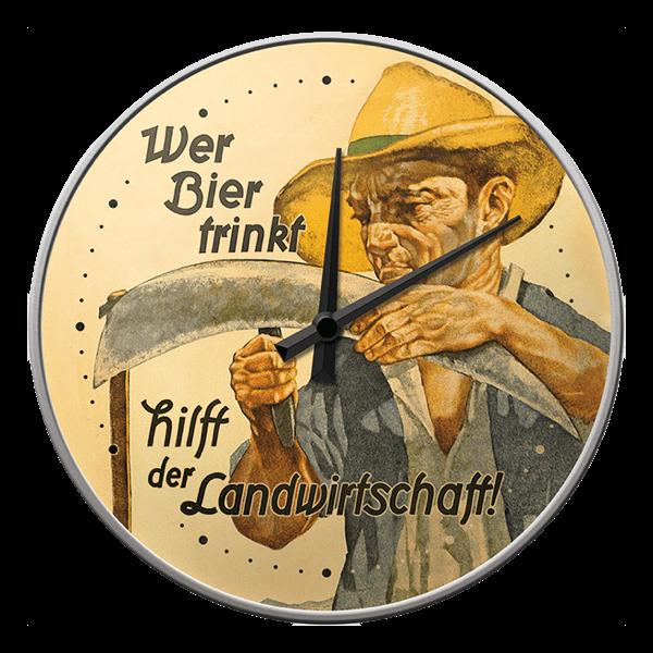 """Wanduhr """"Wer Bier trinkt hilft der Landwirtschaft"""""""