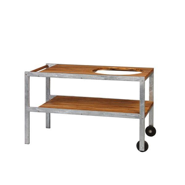 Tisch aus verzinktem Stahl und Teak