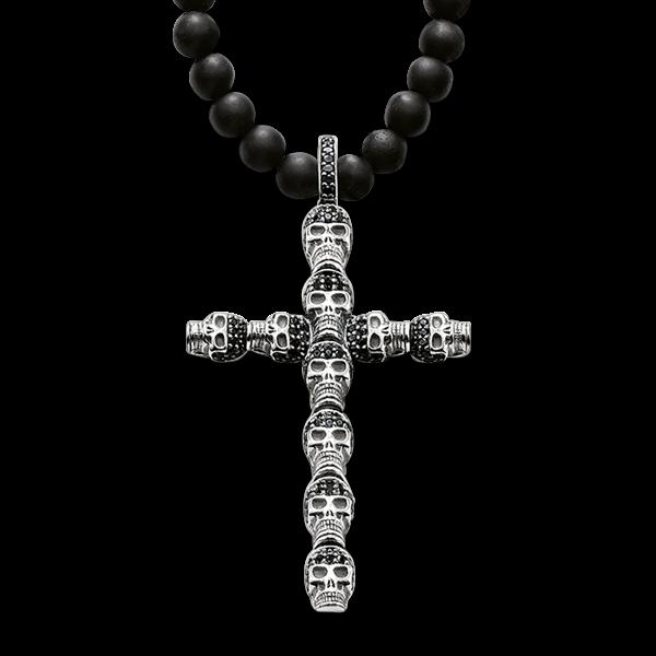Obsidian-Kette mit Totenkopf Kreuz in 925er Sterlingsilber