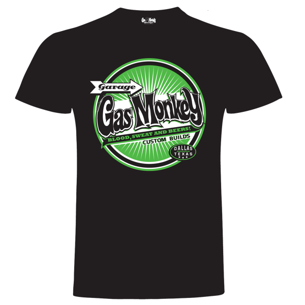 "Gas Monkey Garage T-Shirt ""Green Circle Custom Builds"" (Größe S)"