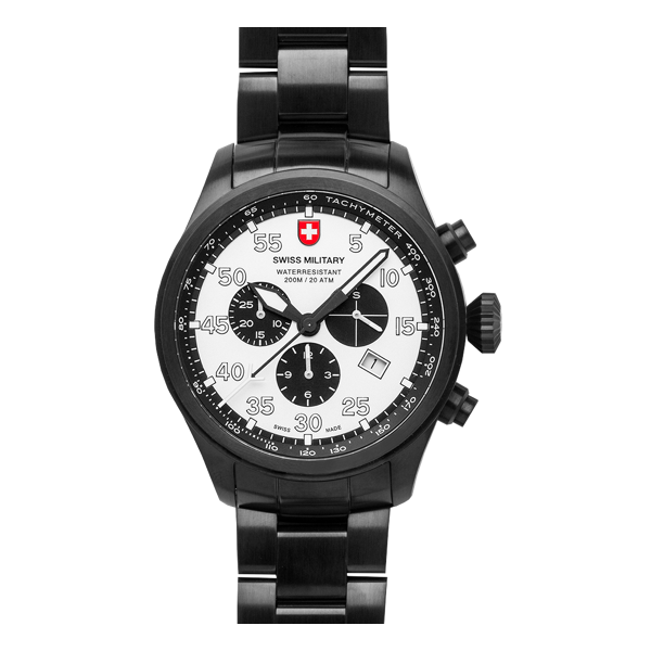 Swiss Military Chronograph mit Stahlarmband (Silber-Schwarz-Kombination)
