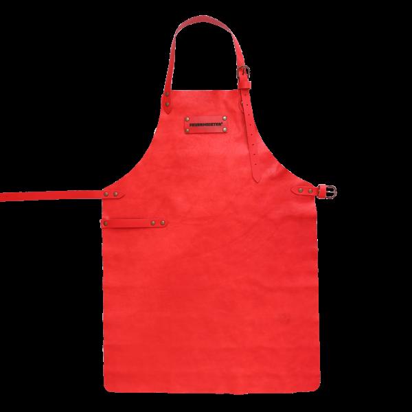 Rote Grillschürze aus Leder