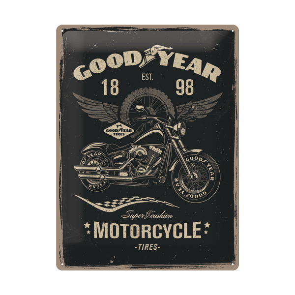 "Goodyear Blechschild ""Motorcycle"" (15 x 20 cm)"