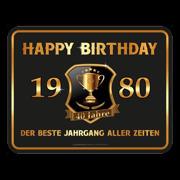"Blechschild ""Happy Birthday 1980"""