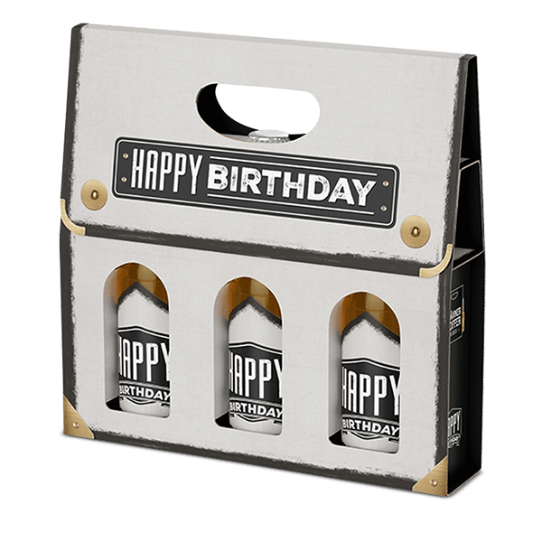 """Männerkoffer """"Happy Birthday"""" (3 Bierflaschen im Tragerl)"""