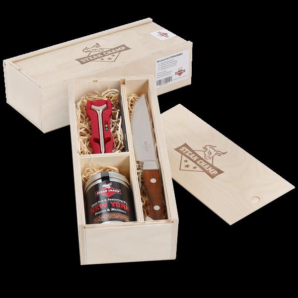 Grill Geschenkeset mit Grillthermometer (3-teilig)