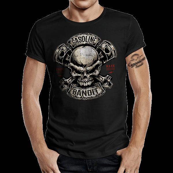 """T-Shirt """"Piston Skull"""" von Gasoline Bandit"""
