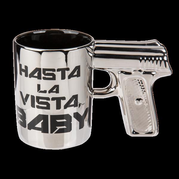 """Tasse mit Pistolengriff """"Hasta la vista, Baby"""""""