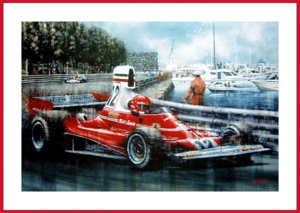 Niki Laudas Ferrari Sieg in Monaco 1975 (Kunstdruck)