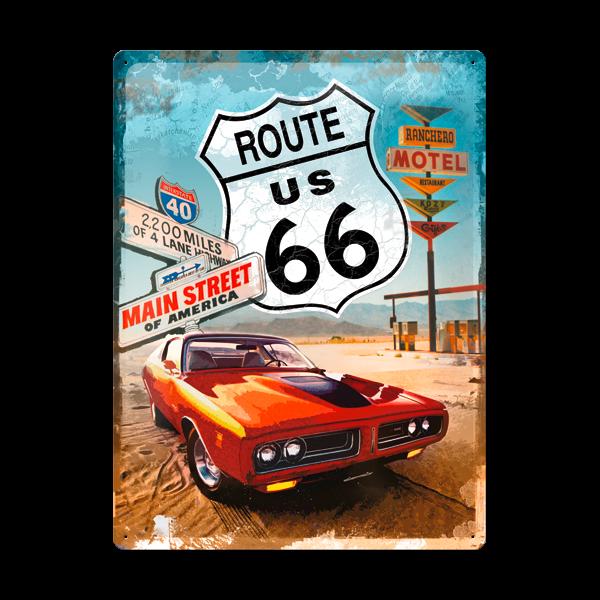 "Blechschild ""Route 66"" 30 x 40 cm"