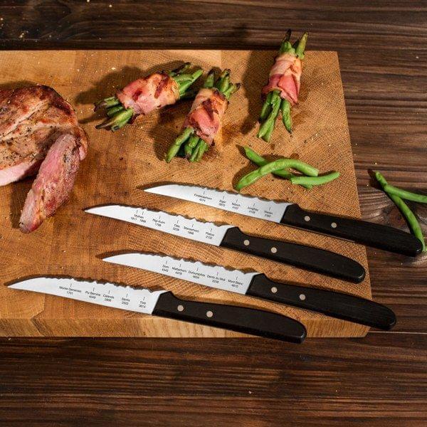 Steakmesser-Set mit Schweizer Bergpanorama-Klingen