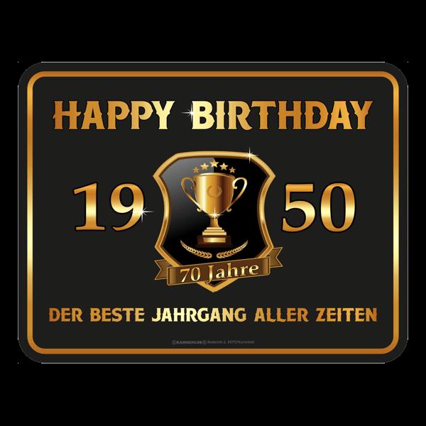 "Blechschild ""Happy Birthday 1950"""