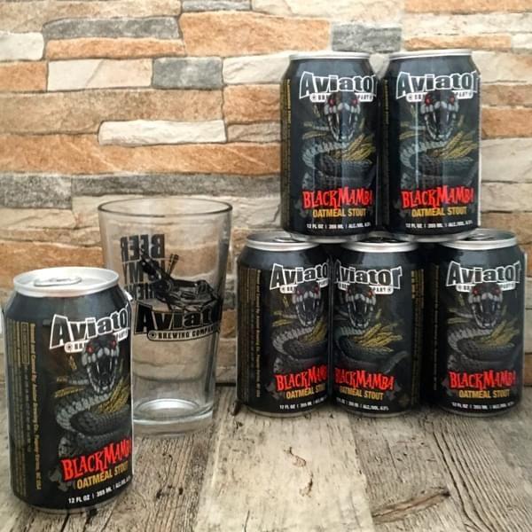 "Bier-Sixpack ""Black Mamba Oat Meal Stout"" mit Pint-Glas"