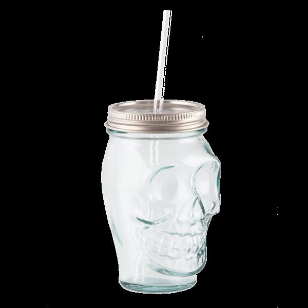 Totenkopf Trinkglas mit Schraubdeckel