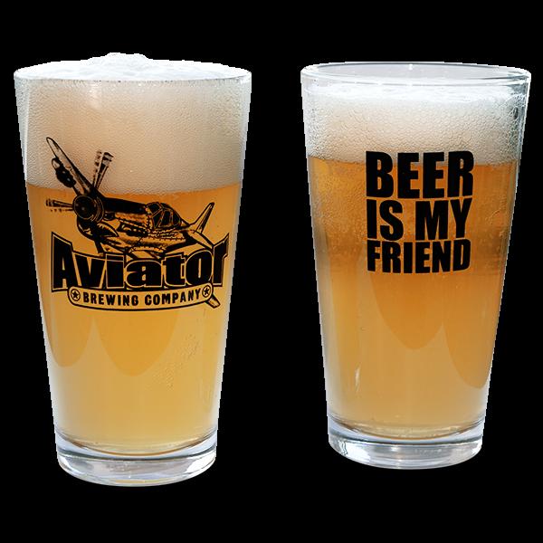 """Amerikanische Craft Bier Brauereigläser """"Aviator Brewing"""""""