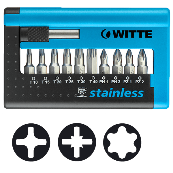 WITTE MAXX Stainless Bits in COMBIT-BOX