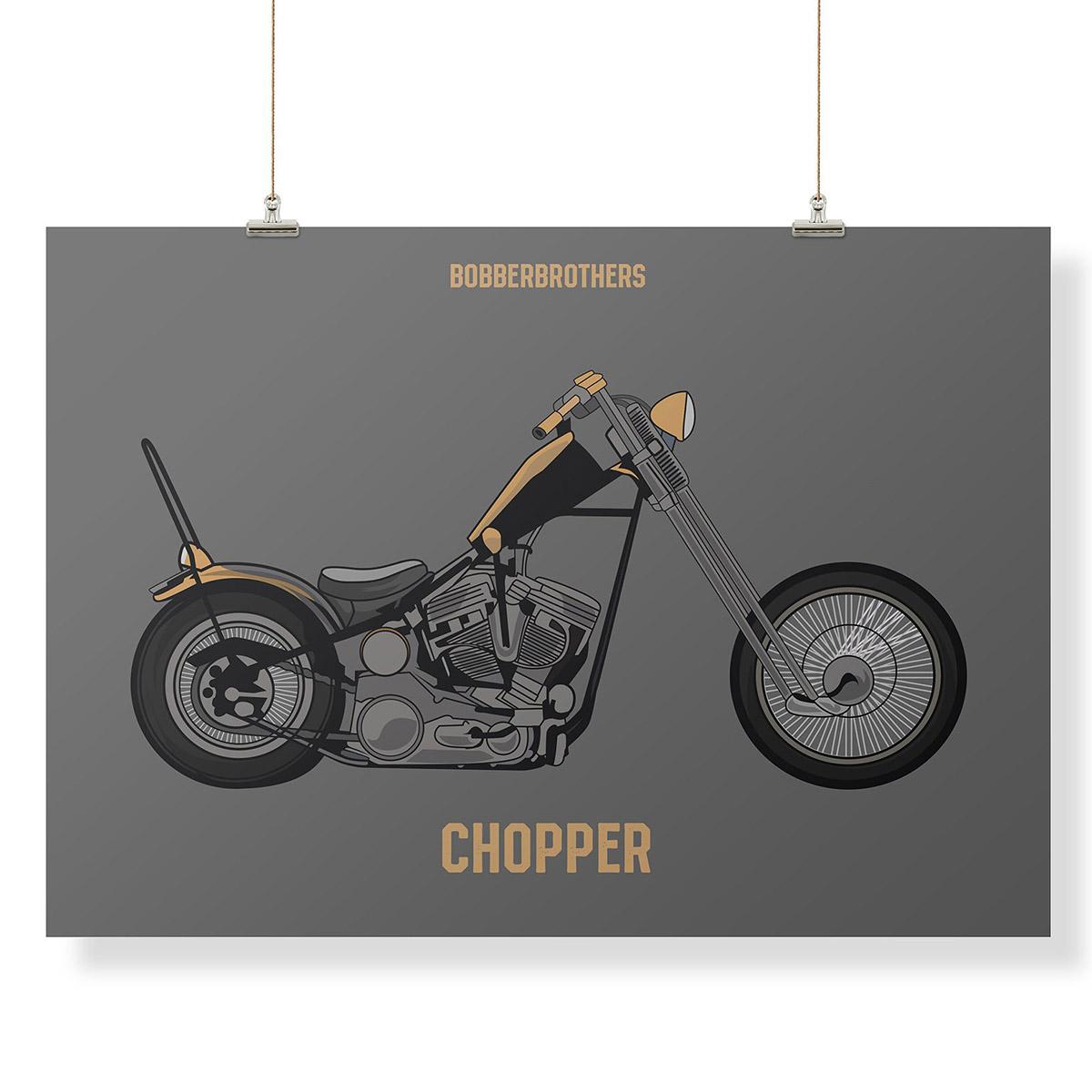 Kunstdruck chopper von bobber brothers schilder deko for Kunstdruck wohnzimmer