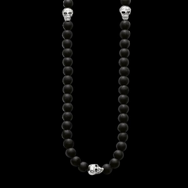 Obsidian-Kette mit Totenköpfen in 925er Sterlingsilber