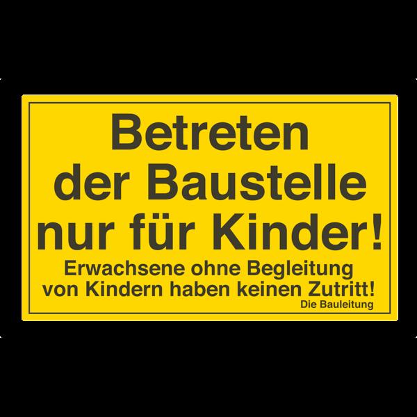 Baustellenschild für Kinder