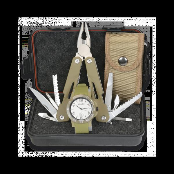 Multitool mit Armbanduhr im Set