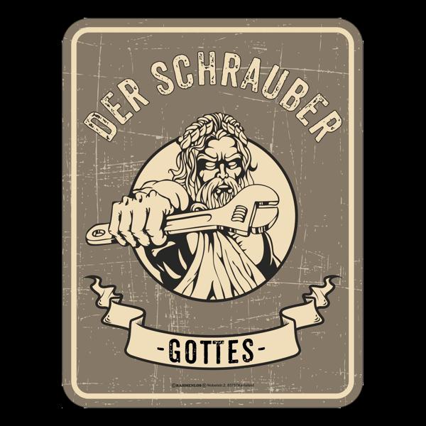 """Blechschild """"Der Schrauber Gottes"""""""