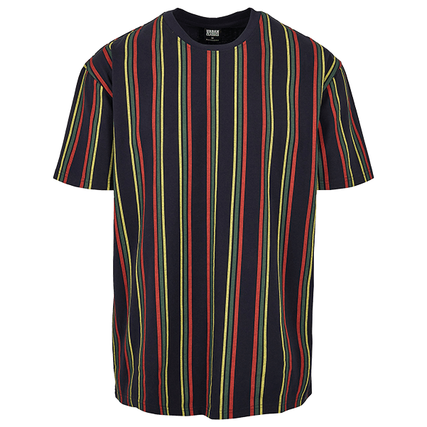 "Oversized T-Shirt ""Stripes"" von Urban Classics midnightnavy/burnedred 5XL"