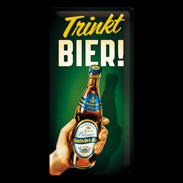 "Blechschild ""Trinkt Bier!"" (25 x 50 cm)"