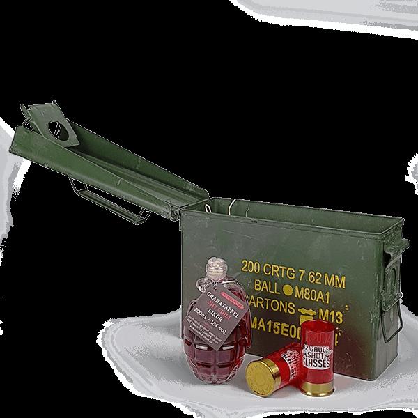 "Munitionskiste ""Granatapfel-Likör mit Chili"""