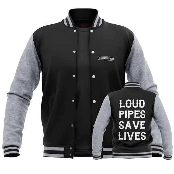 "College Jacke ""Loud Pipes Save Lives"" von Bobber Brothers"