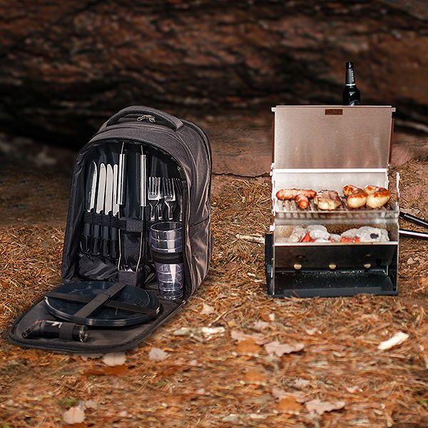 Komplettset Kompaktgrill und Picknick Rucksack mit Kühlfach