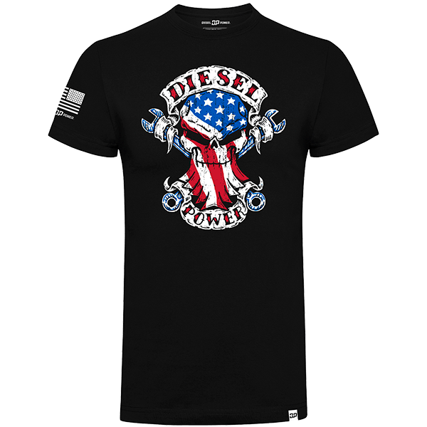 "Diesel Power Gear T-Shirt ""American Built Skull"""