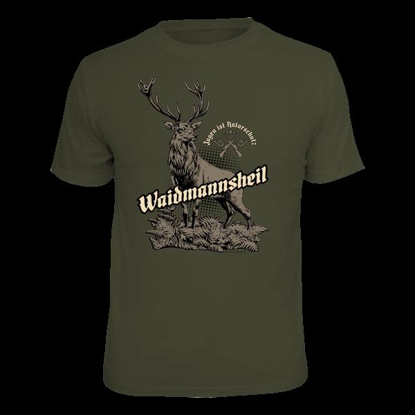 """T-Shirt """"Waidmannsheil - Jagen ist Naturschutz"""""""