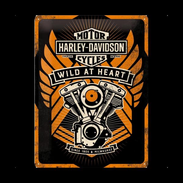 """Blechschild """"Harley Davidson - Wild at Heart"""""""