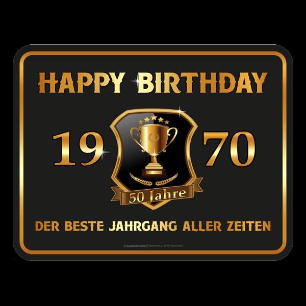 "Blechschild ""Happy Birthday 1970"""