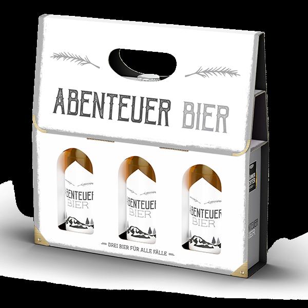 """Männerkoffer """"Abenteuer Bier"""" (3 Bierflaschen im Tragerl)"""