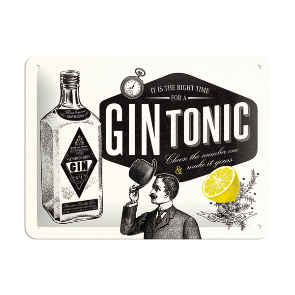 "Blechschild ""It is the right time for a Gin Tonic"" (15 x 20 cm)"