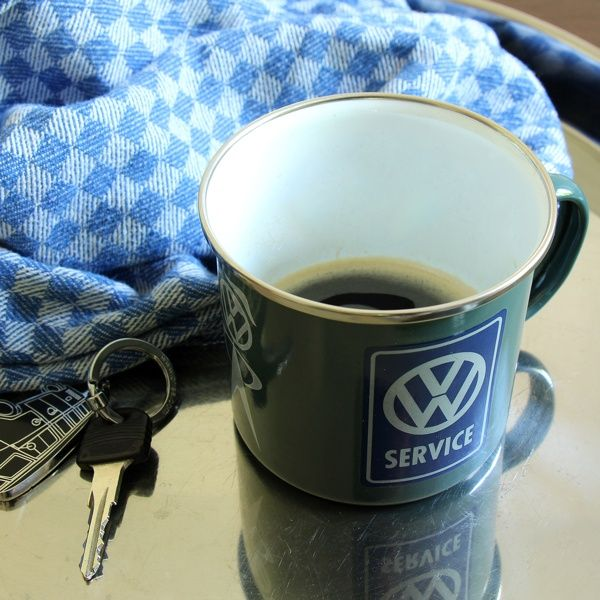 """Emaille-Becher """"VW Service"""""""