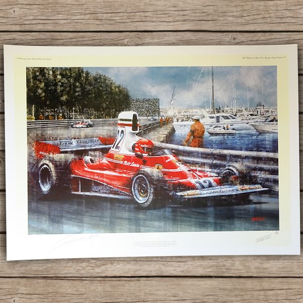 Niki Laudas Ferrari Sieg in Monaco 1975 (handsignierter Kunstdruck)
