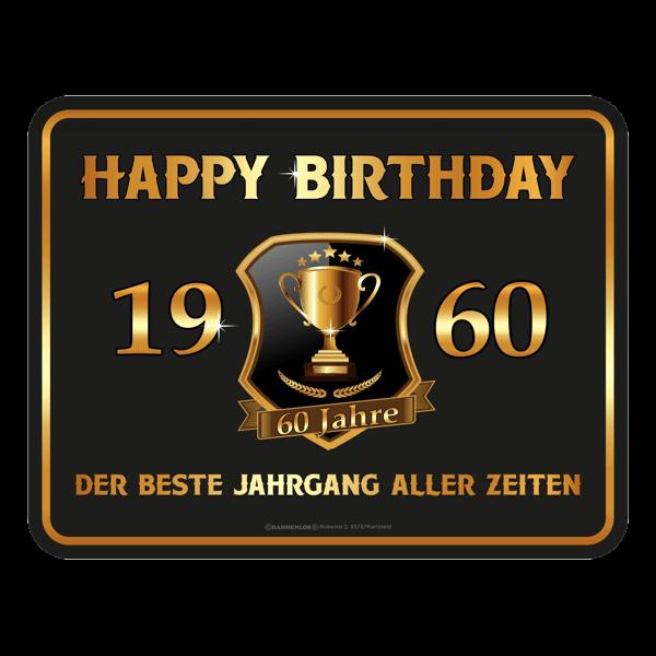 "Blechschild ""Happy Birthday 1960"""