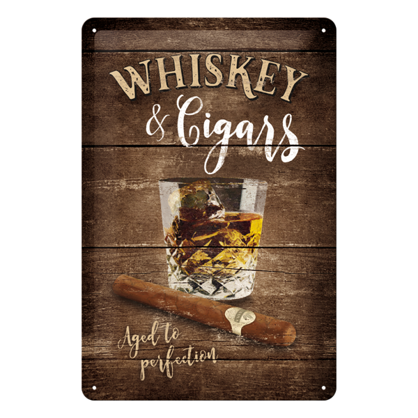 "Blechschild ""Whiskey & Cigars - Aged to perfection"""