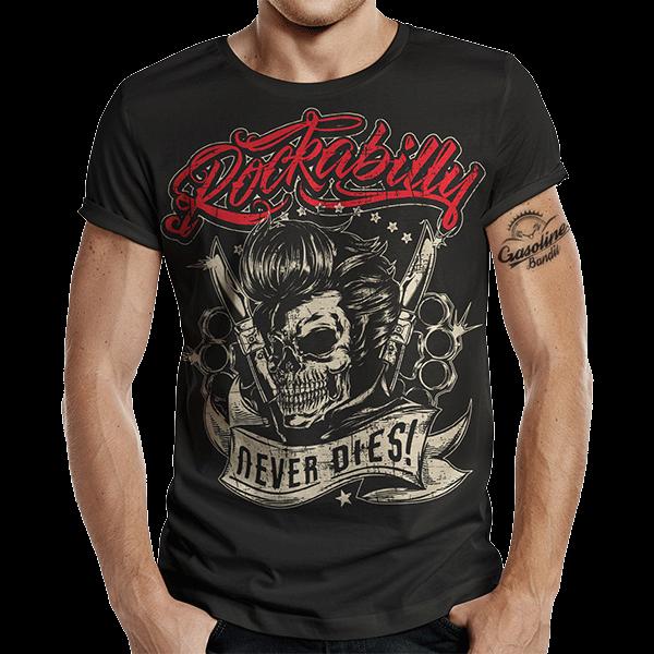 """T-Shirt """"Rockabilly never dies"""" von Gasoline Bandit"""